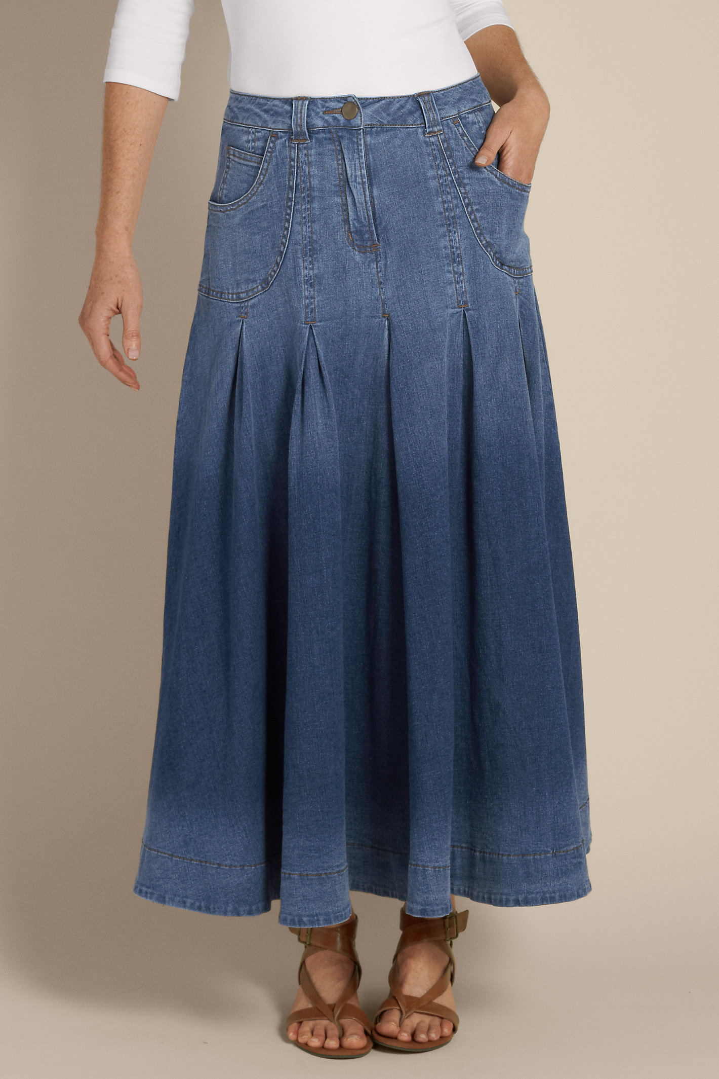 Tall Pleated Denim Skirt