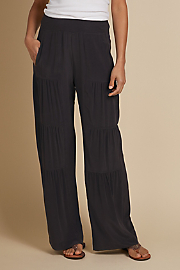 Women Silk Terrace Pants - BLACK