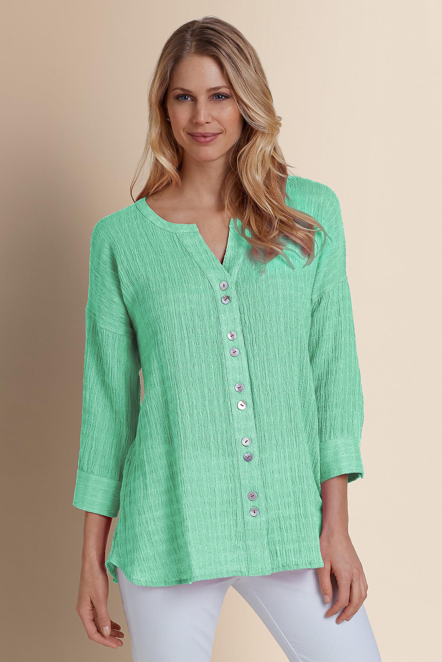 Petite Crinkled Gauze Shirt