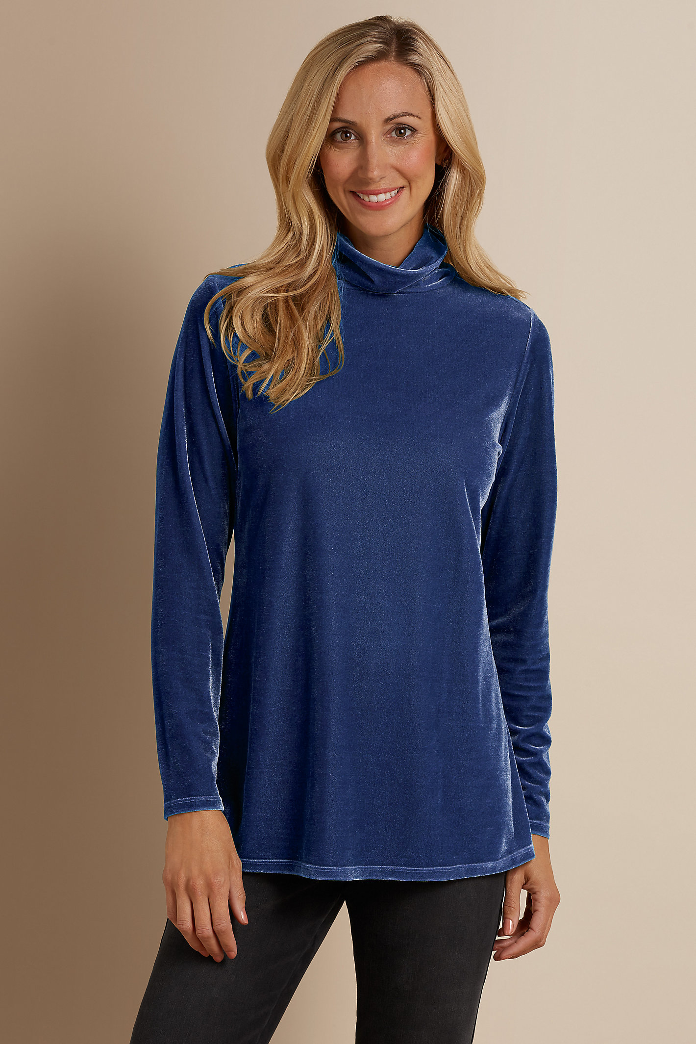 Petite Stretch Velvet Turtleneck
