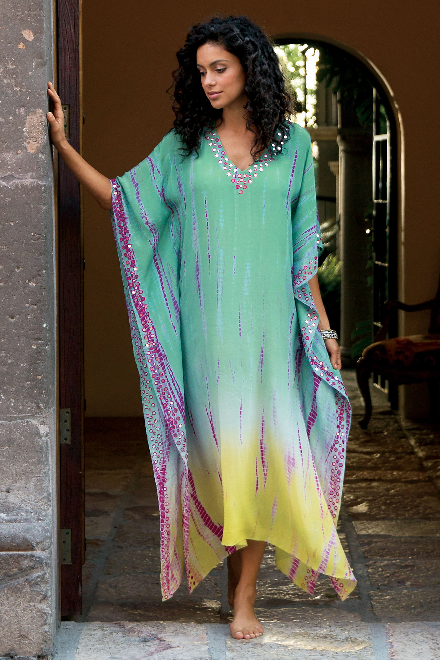 TALL MIRRORED SHIBORI CAFTAN