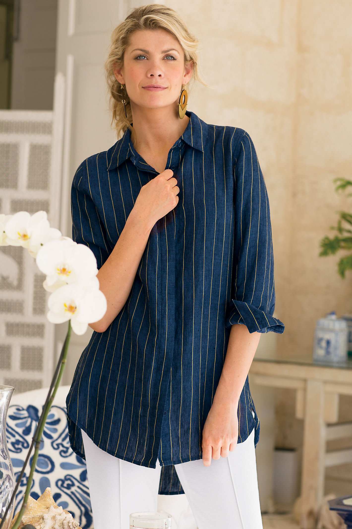 Women Provence Pinstripe Shirt