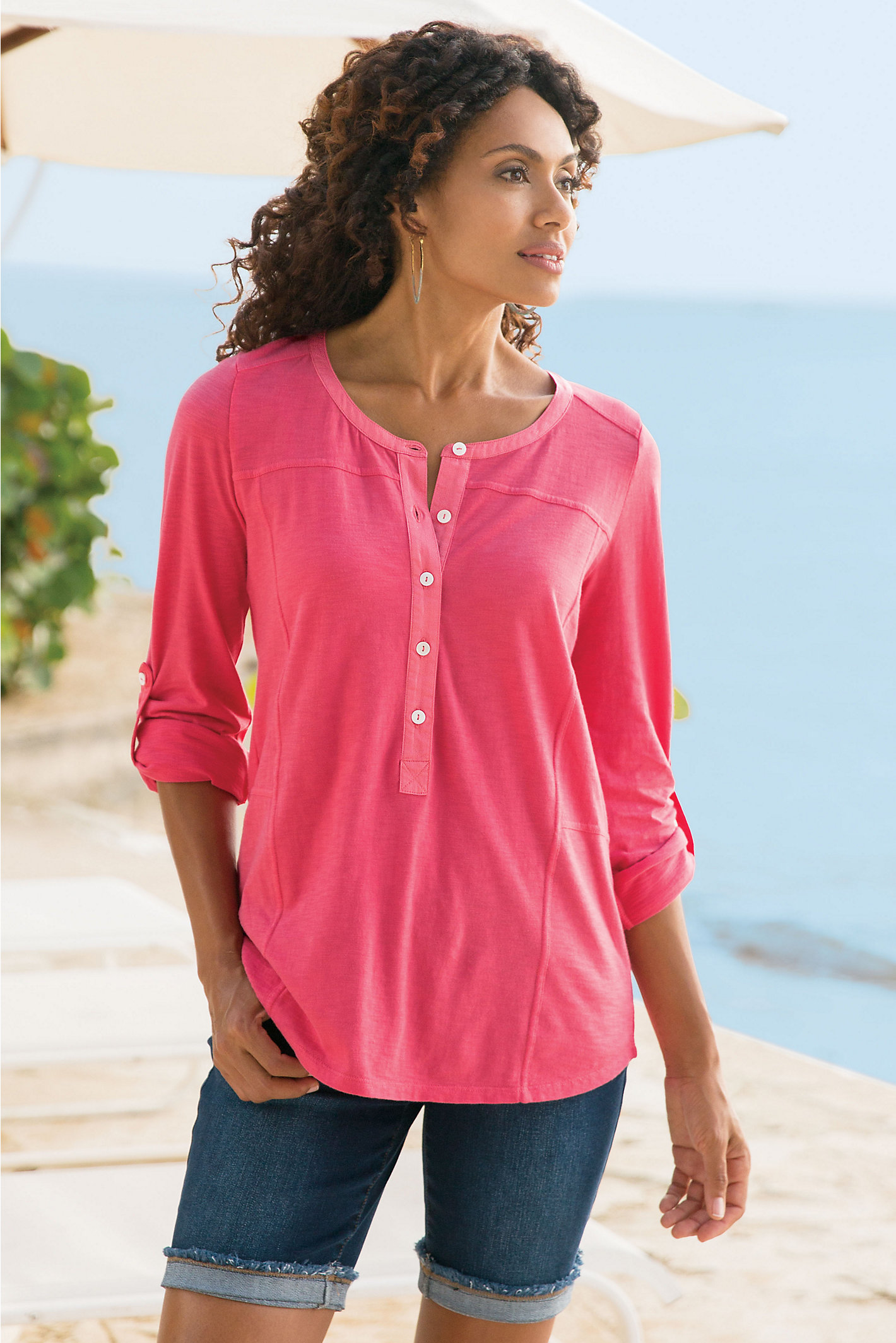 Women Knit Linen Henley