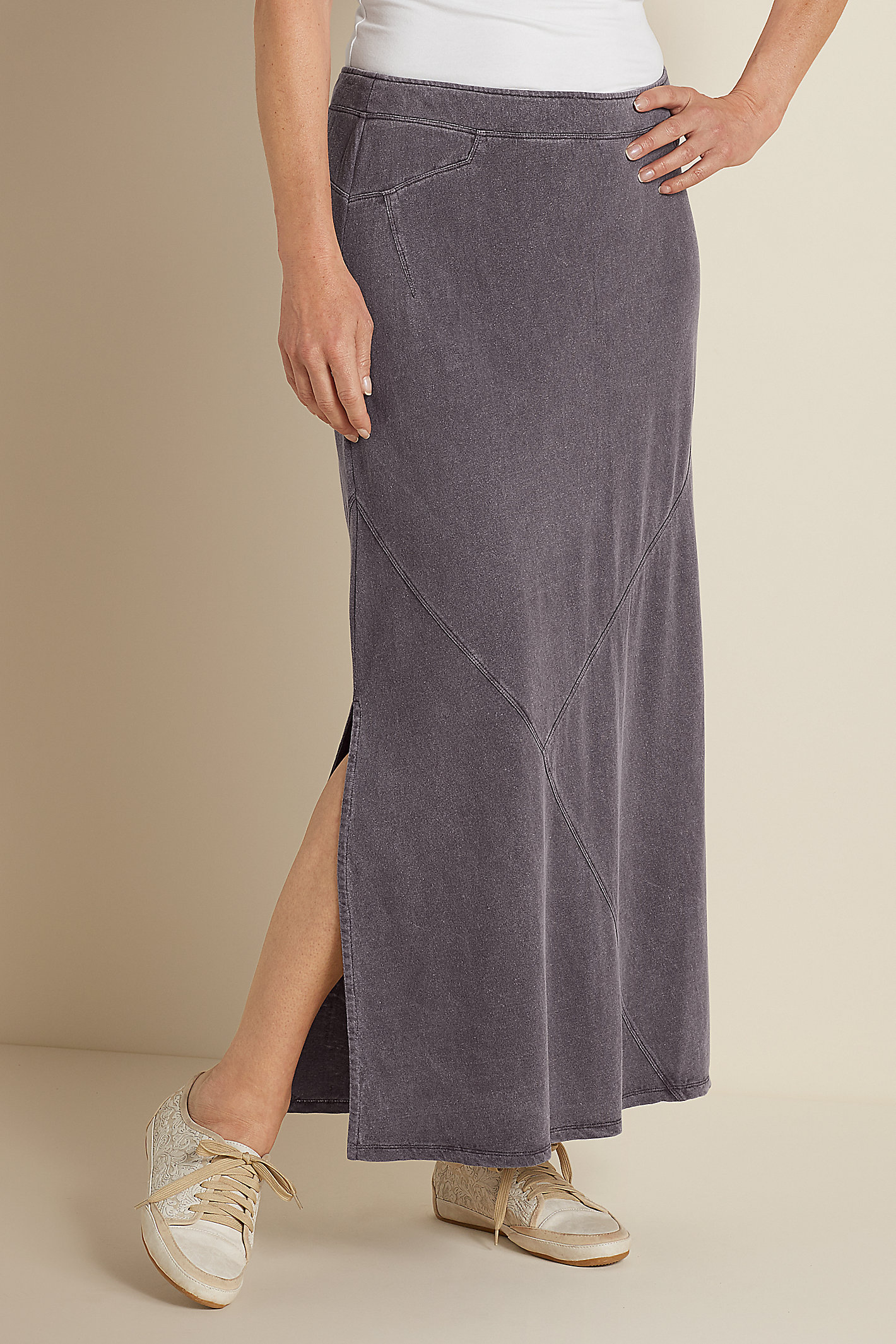 TALL KNIT LINEN MAXI SKIRT