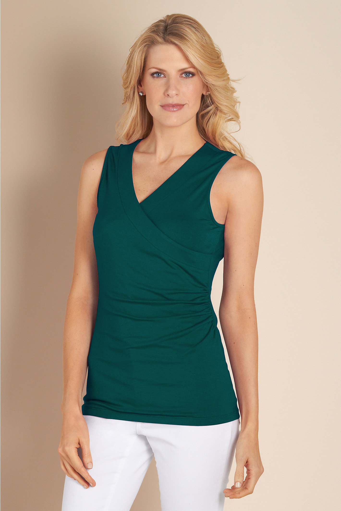 WOMEN SHAPELY SURPLICE TANK