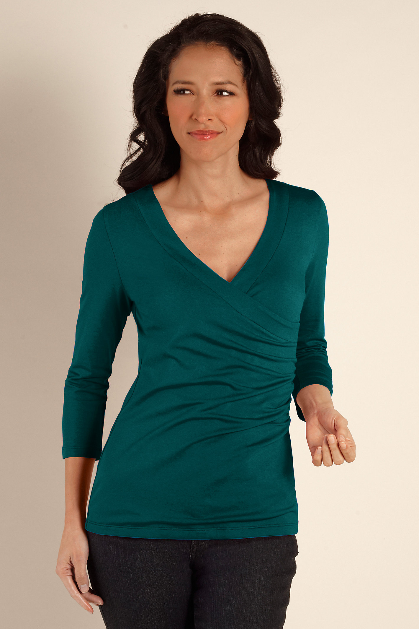 3/4 Sleeve Shapely Surplice Tp