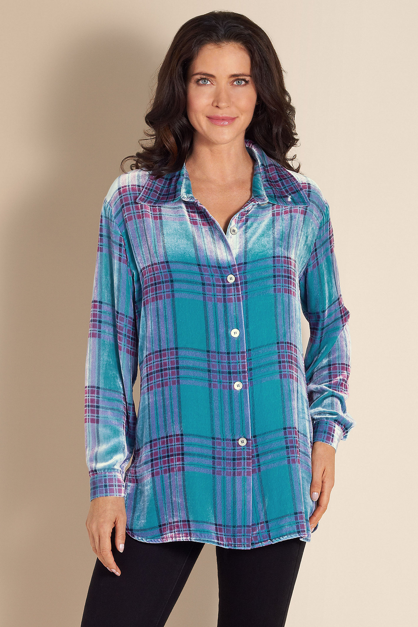 Tall Plaid Velvet Big Shirt