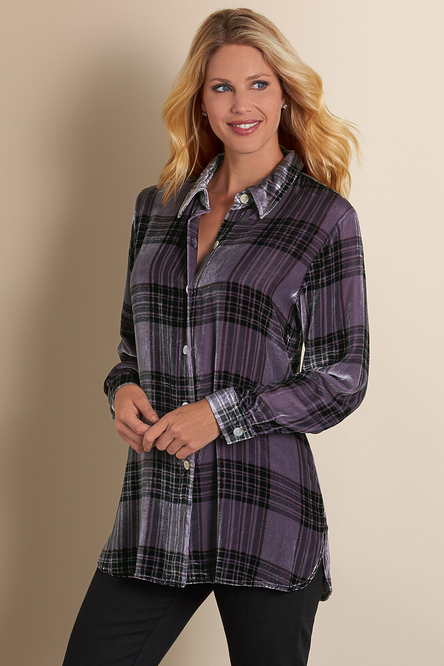 Petite Plaid Velvet Big Shirt