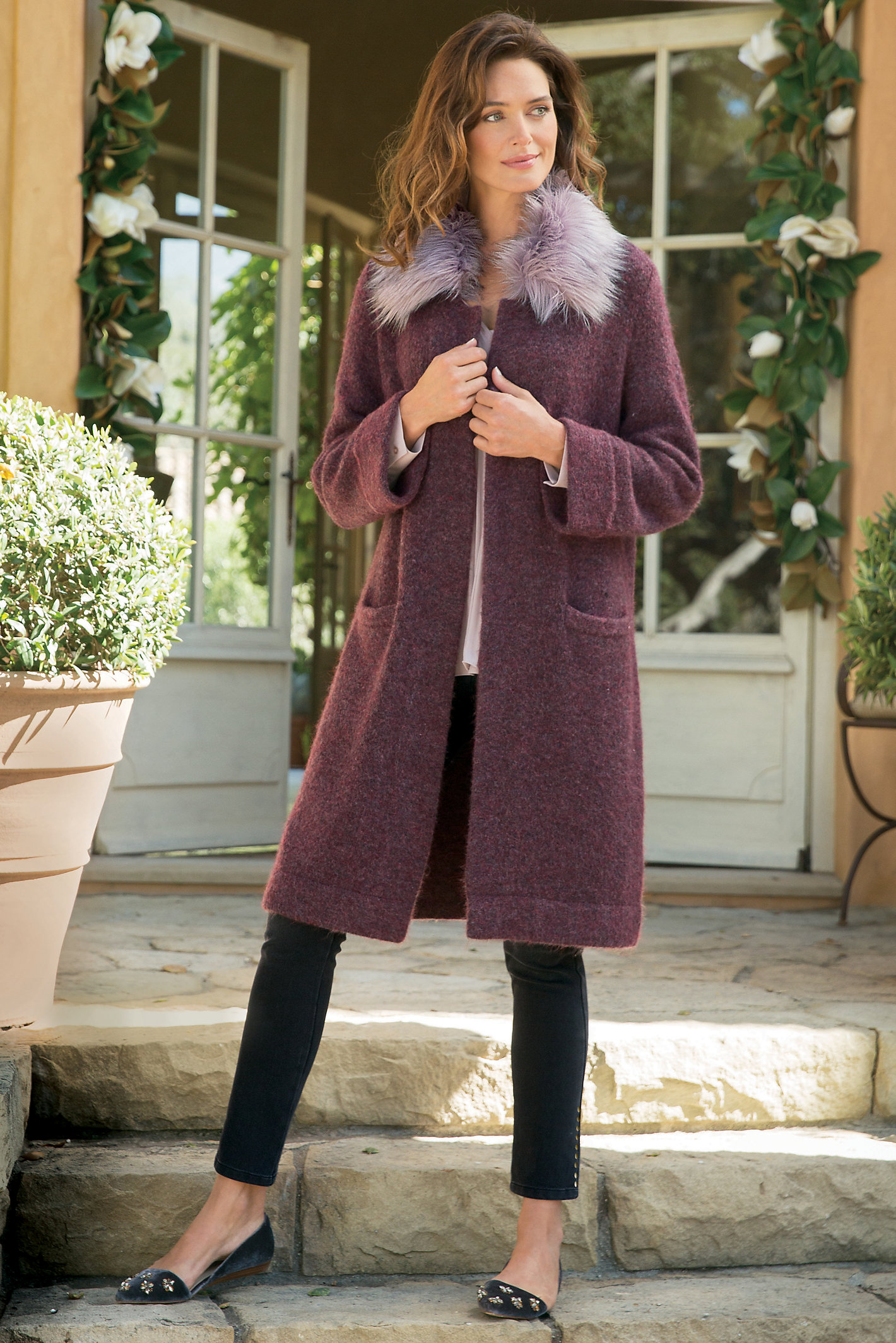 WOMEN FAUX FUR SWEATER COAT