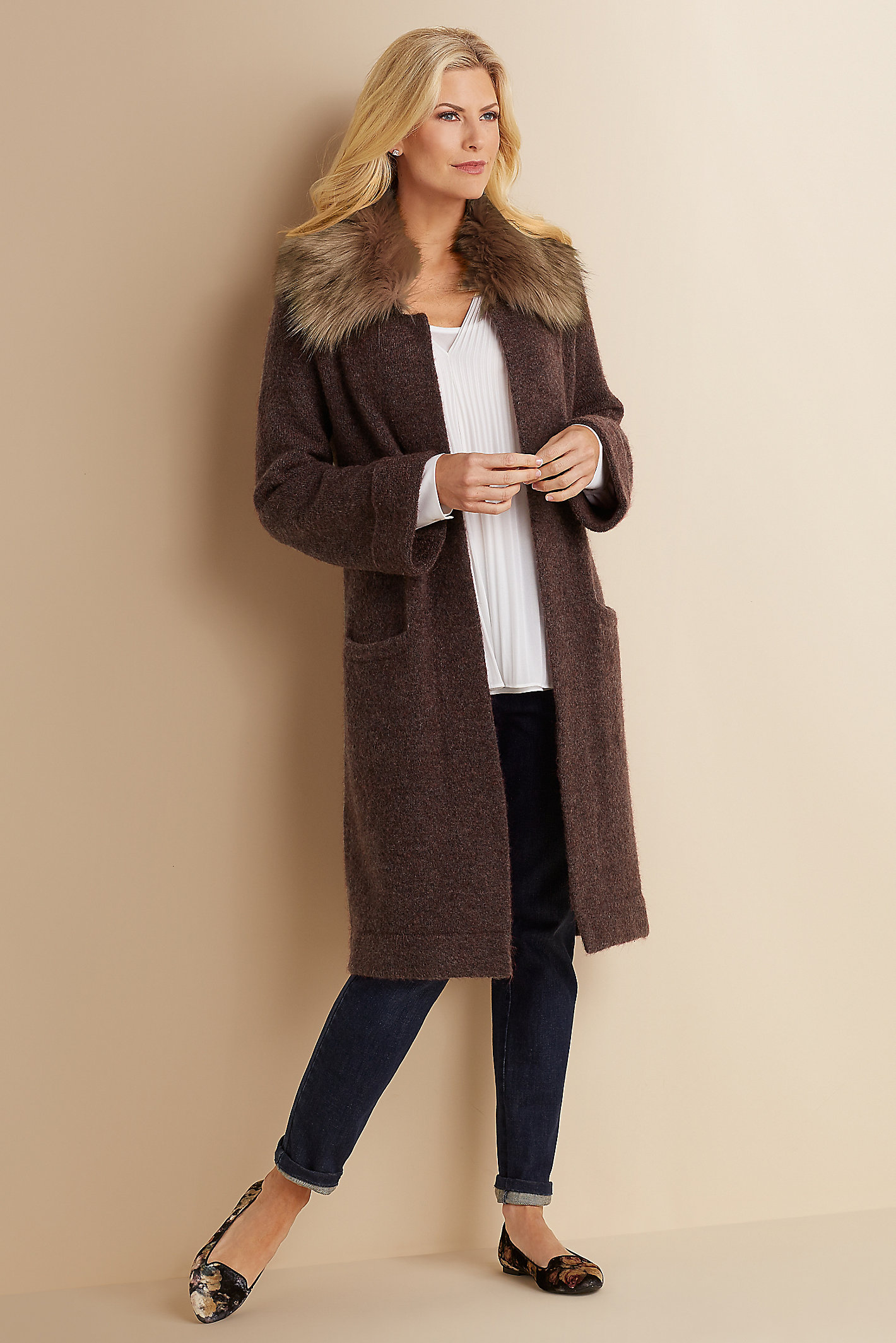 PETITE FAUX FUR SWEATER COAT