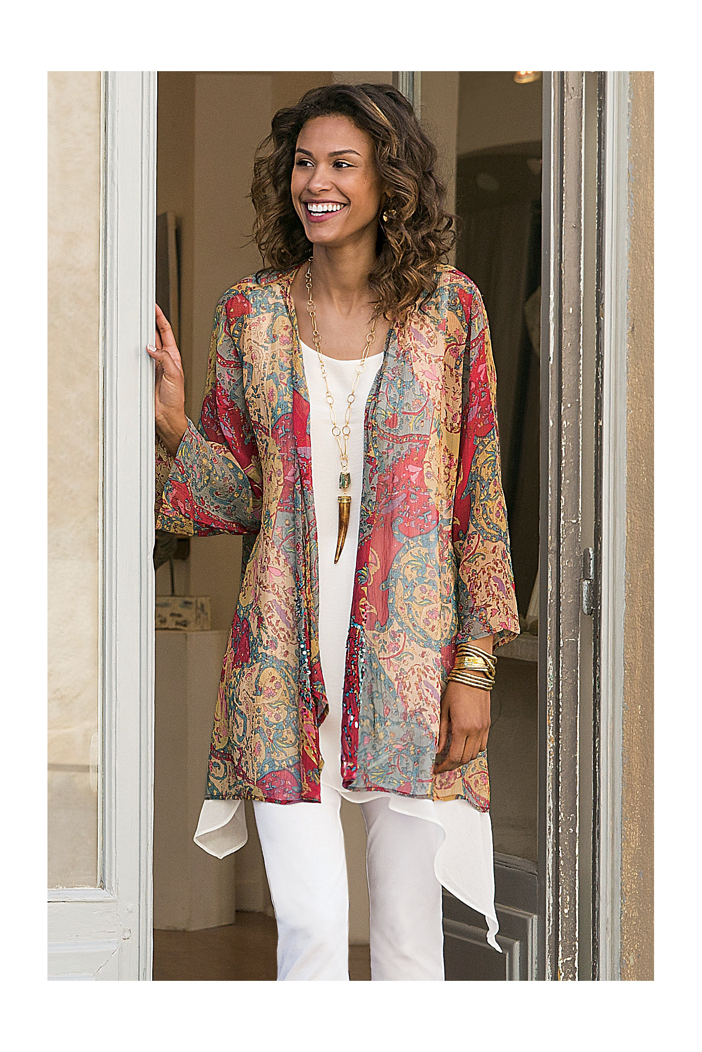 WOMEN FADED PAISLEY TOP
