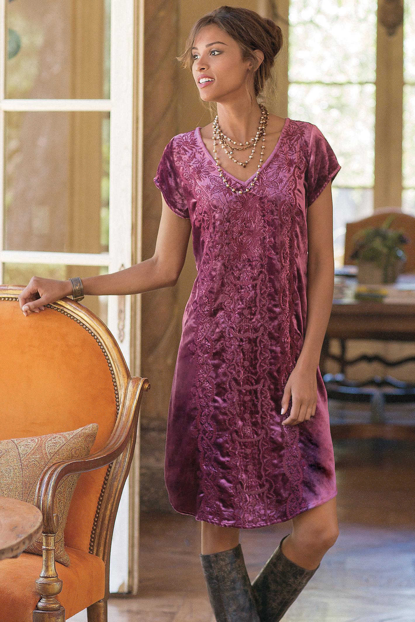 WOMEN BOHEMIAN VELVET DRESS