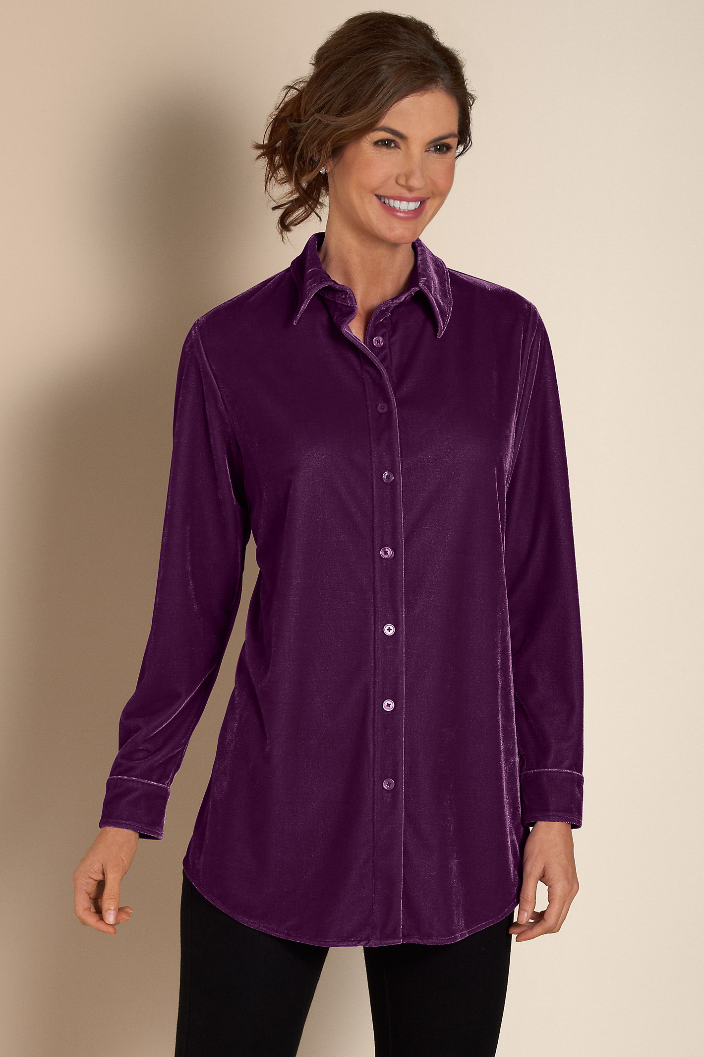 Women Velvet Boyfriend Shirt