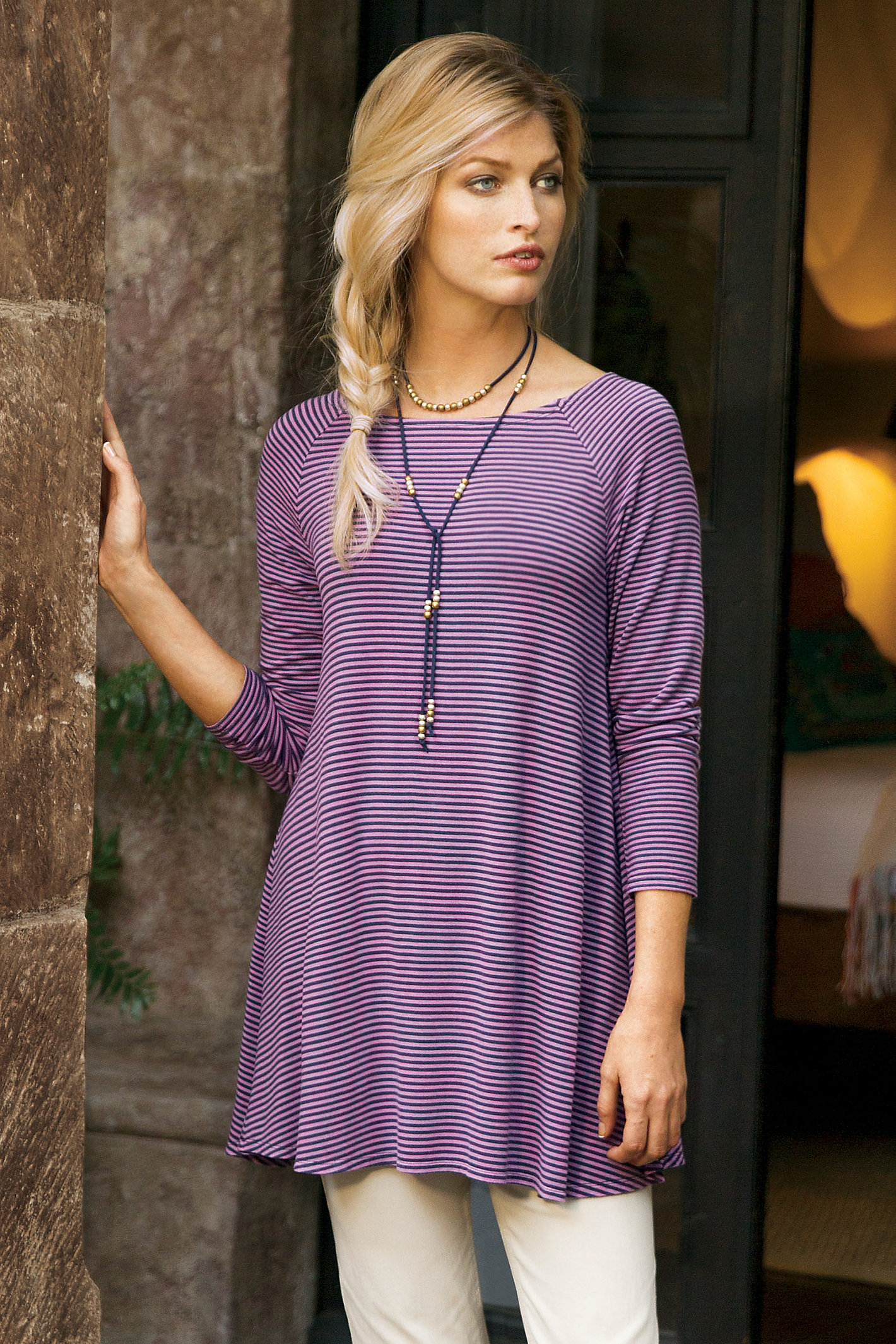 PETITE STRIPED JERSEY TUNIC