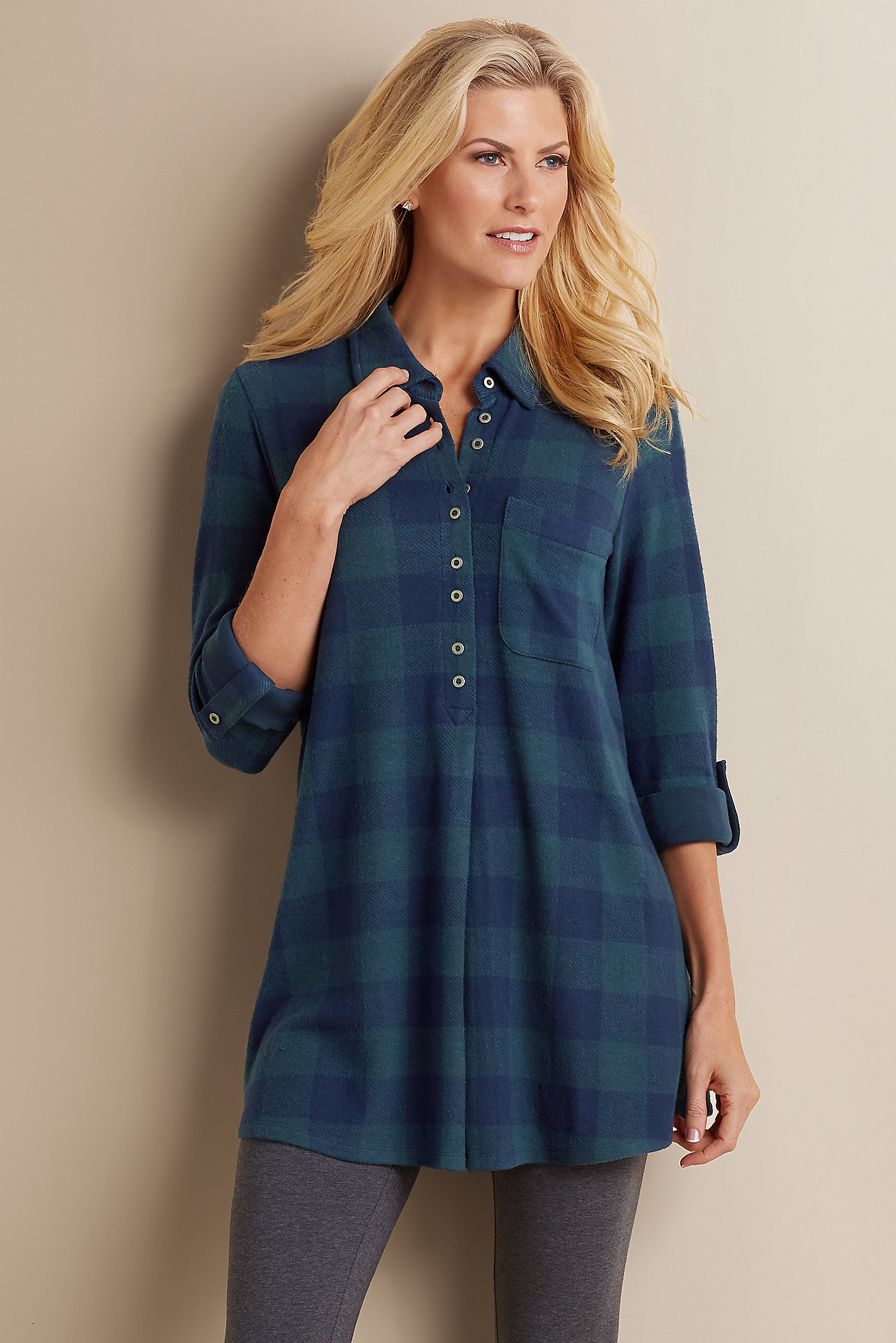 PETITE MAD ABOUT PLAID TUNIC
