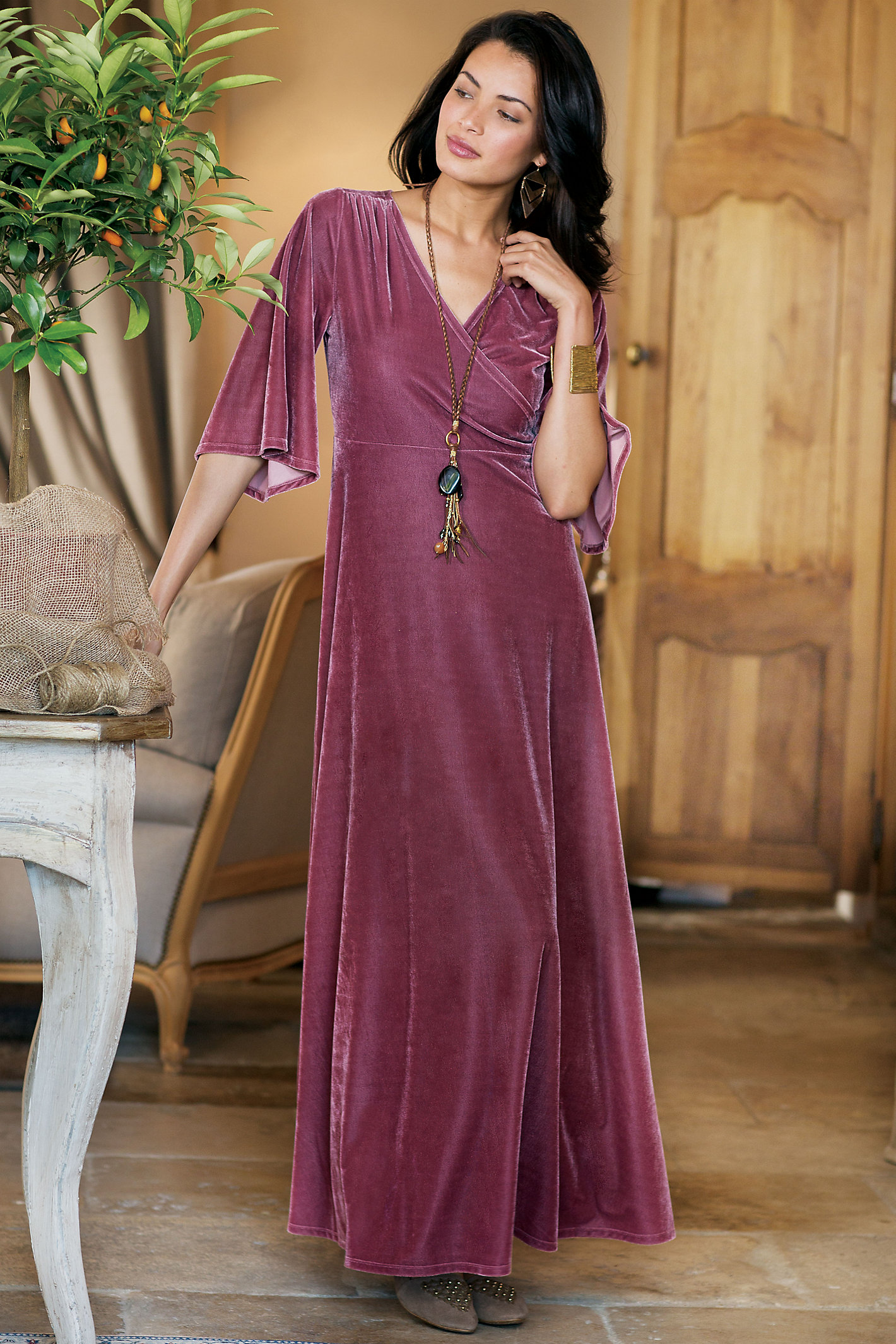 Tall Vera Velvet Wrap Dress