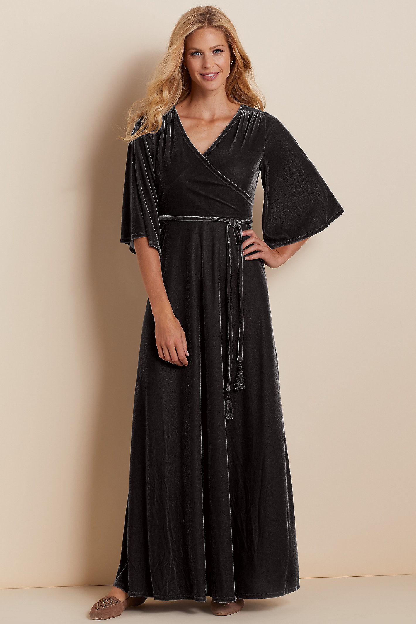 Petite Vera Velvet Wrap Dress