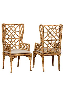 Bamboo Wingback Chairs