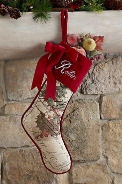 Brocante Holiday Holly Stocking