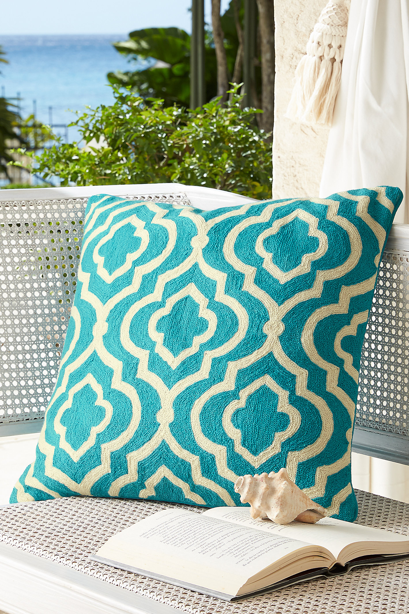 MOROCCAN TILE CREWEL PILLOW