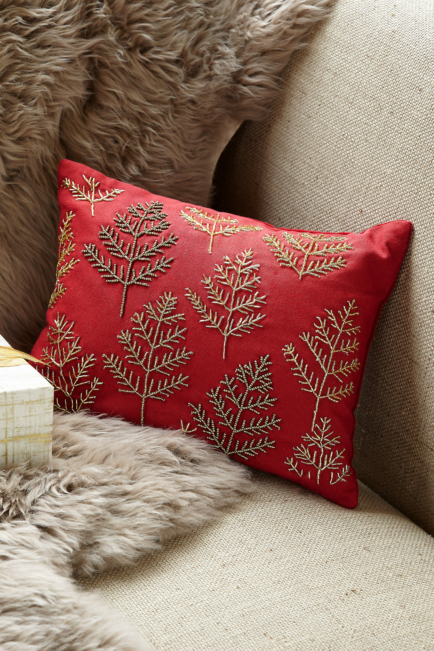 BEADED BRANCHES PILLOW