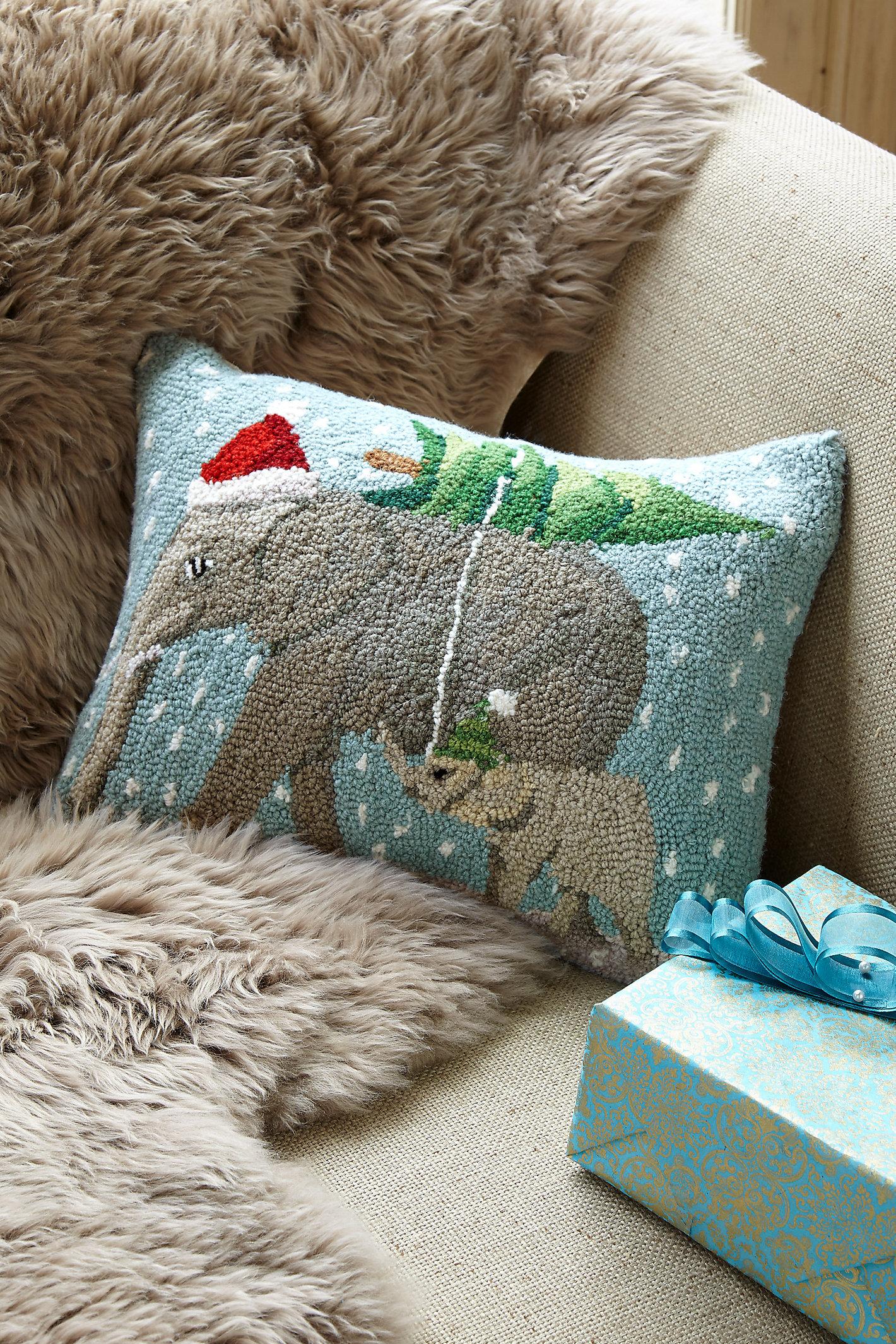 CHRISTMAS ELEPHANT HOOK PILLOW