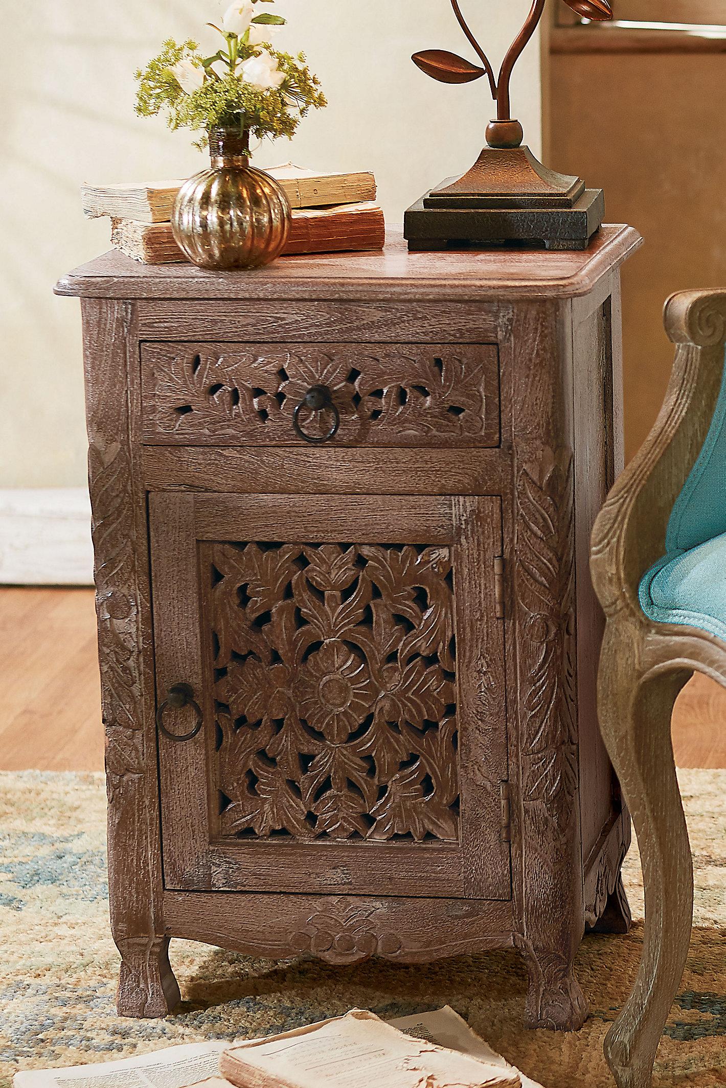 Jodhpur Carved Wood Side Table