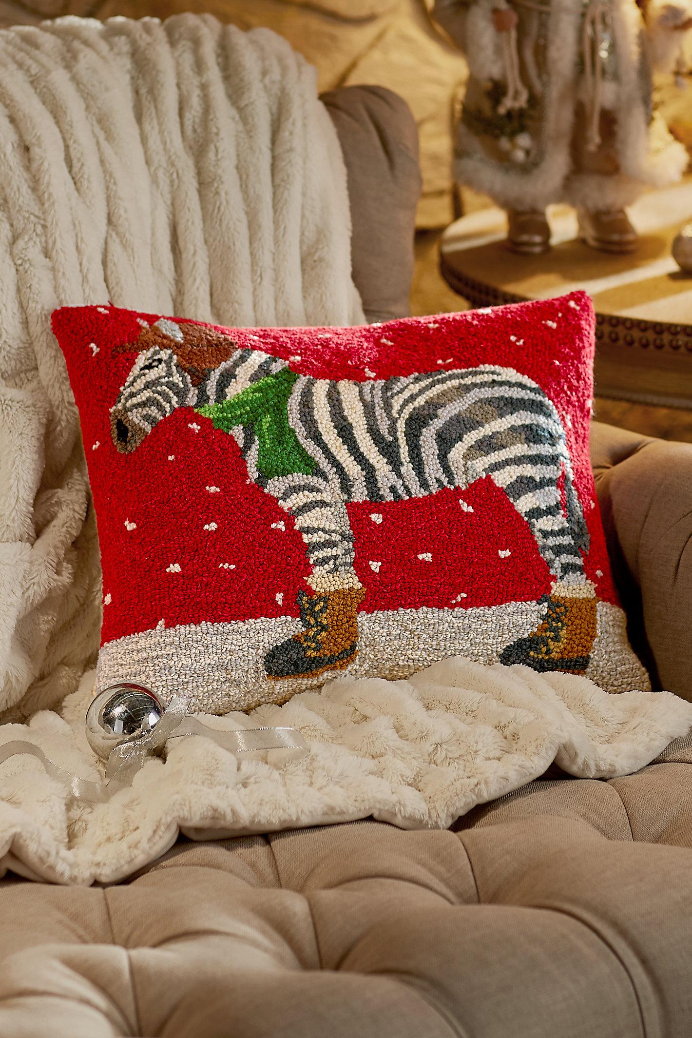 Zebra W/hat Hooked Pillow