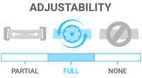 Adjustability: Full - total adjustability to maximize comfort and stability