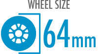 Size: 64mm - Diameter of the wheel