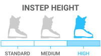 Instep Height: High - circumference of instep <br> > 1/2 the length of your foot