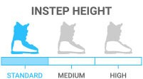 Instep Height: Standard - circumference height <br> < 1/3 the length of the foot