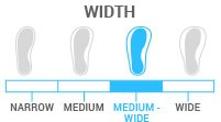 Width: Medium Wide - Last between 102-103mm. For a slightly wider than average foot