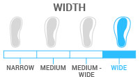 Width: Wide - Last between 104-106mm.  Best for skiers with a wide foot