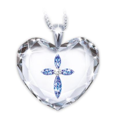 Blessing For A Daughter Crystal Heart Pendant Necklace