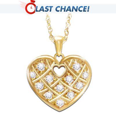 Dozen Diamonds Heart Pendant Necklace