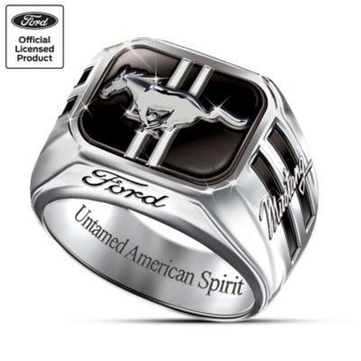 Engraved Sterling Silver Ford Mustang Mens Ring Untamed