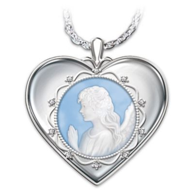 Bless You Granddaughter Cameo Angel Pendant Necklace