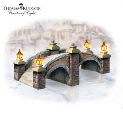 Thomas Kinkade Cobblestone Brook Bridge Village Accessory