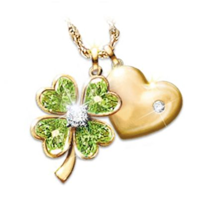 Good Luck Diamond And Peridot Pendant Necklace