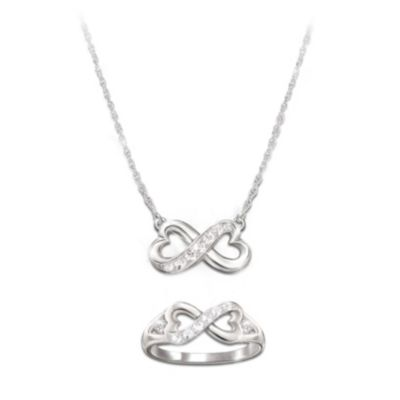 Daughter, Forever In My Heart Diamond Necklace And Ring Set