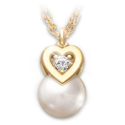 My Precious Granddaughter Cultured Pearl And Diamond Pendant