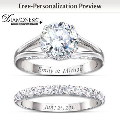 Diamonesk Personalized Bridal Ring Set