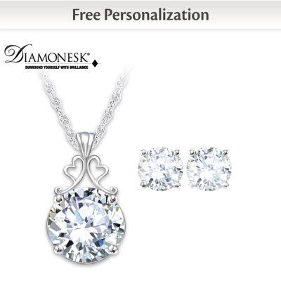 Diamonesk Bridal Earrings And Personalized Pendant Set