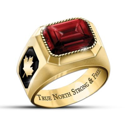 True North Strong And Free Men's Ring