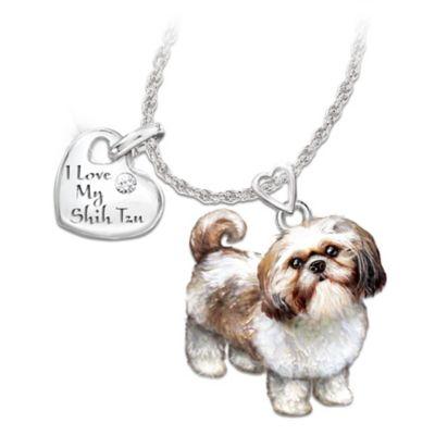 Playful Pup Shih Tzu Diamond Pendant Necklace