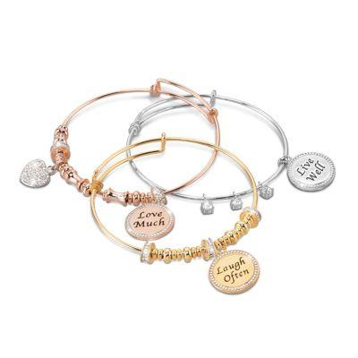 Live Well, Love Much, Laugh Often Bracelet Set