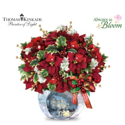 Thomas Kinkade Bringing Holiday Cheer Table Centerpiece