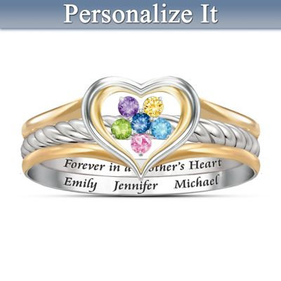 A Mother's Loving Heart Personalized Ring