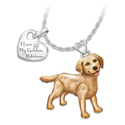 Playful Pup Diamond Pendant Necklace - Golden Retriever